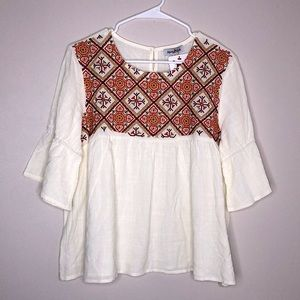 Perfectly Priscilla Babydoll Embroidered Blouse